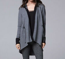 Simply Vera Vera Wang Simply Women's Grey Breathe Hooded Cardigan - Size XL