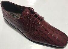 Stacy Adams Men's Merrick Red Leather Dress Shoes with Gator and Lizard Print.