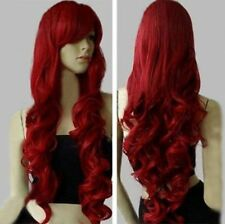 32 inch Long Heat Resistant Big Spiral Curl Dark Red Cosplay Wig free shipping