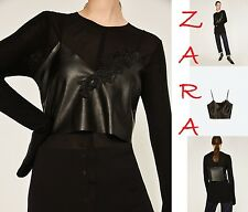 ZARA Cropped FAUX Leather Black Top w/Embroidery Straps V-Neck New (RT$35) S M L