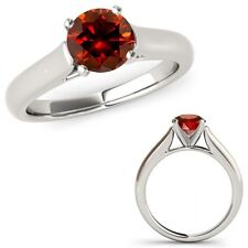 0.5 Ct Red Diamond Solitaire Engagement Anniversary Bridal Ring 14K White Gold