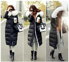 Women's Fox Fur Collar Hooded Bomber Winter Feather Down Long Coat/Jacket Parka