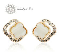 Crystal Flower Stud Earring/Simulated Diamond/Rose gold/RE013G