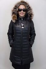 WOMEN BLACK 100% GENUINE LAMB LEATHER PUFFER JACKET COAT LINED RACOON FUR XS-6XL