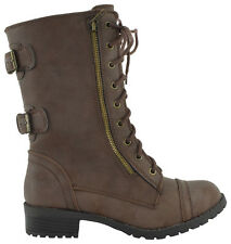 Soda Women Combat Army Military Motorcycle Riding Flat Boots Brown Buckle DOME-S