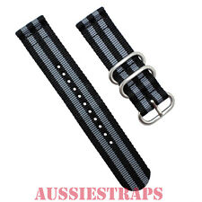PREMIUM ZULU® 2 Piece GREY BLACK BOND 007 Divers watch strap band Nylon 3 Ring