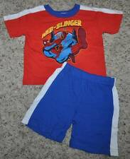 NWT-Boys Marvel Spiderman 2 Pc Short Sleeve Shirt & Short Set- 12, 18 & 24 mths
