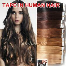20-40pcs Tape In Skin Weft Human Hair Remy Brazilian Virgin Hair Extensions I407