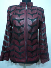 Burgundy Leather Leaf Jacket for Women All Colors All Regular Sizes Available