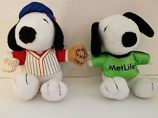 LOT OF 2 METLIFE SNOOPY PLUSH BASEBALL & SOCCER