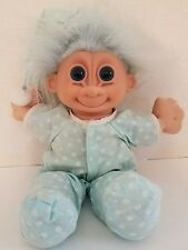 RUSS Troll Doll with Light Blue & White Polka dots Pajamas & Night Cap #2321