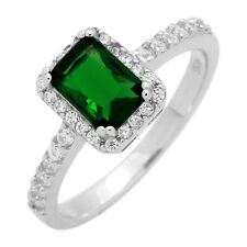 Sterling Silver Green Emerald  CZ Micropave Emerald Cut Solitaire Ring