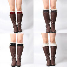 Women's Fashion Bowknot Lace Trim Knitted Leg Warmer Boot Cuffs Toppers Charm