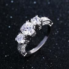 White Sapphire Womens Jewelry Band 10Kt White Gold Filled Ring Wedding Size 5-12