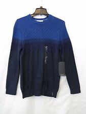 Calvin Klein Mens Sweater Cable Color Block Blue Cotton Acrylic Blend