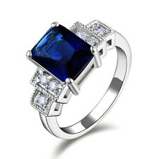 Jewelry Emerald Cut Blue Sapphire 10KT Gold Filled Women's Rings Gift Size7-10
