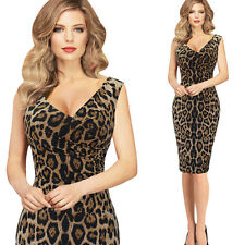 Women Sexy Sleeveless V-neck Leopard print Bodycon Dress Evening Party Clubwear
