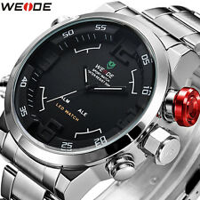 Weide Mens Analog Digital Alarm LED Sport Full Steel Military Quartz Wrist Watch