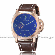 Luxury Brand Mens Automatic Mechanical Skeleton Leather Band Business WristWatch
