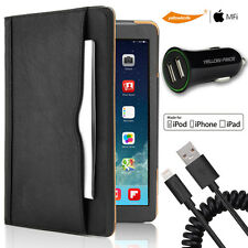 iPad Air 2 Smart Sleep Feature Case+MFi Coilded Lightning Cord/ 2.4A Car Charger