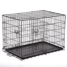 "48""/42""/36""/30""/24"" Pet Kennel Cat Dog Folding Crate Wire Metal Cage w/ Divider"