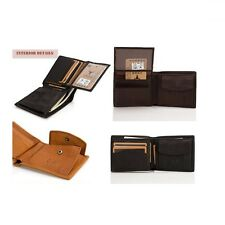 Men Genuine Cowhide Leather Vintage Wallet Compact ID Purse With Coin Pocket