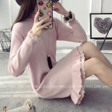 New Fashion Winter Korean Women Pullover Long Sleeve Slim Knit Long Sweater Dres
