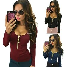 Sexy Women Deep V-neck T-shirt Bodycon Zipper Casual Long Sleeve Blouse Tops New
