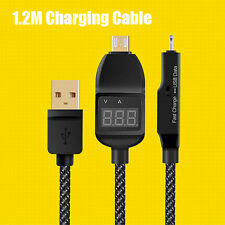1.2M Micro USB Sync Data Smart Voltage Current LED Display Fast Charging Cable