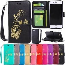 Fashion Flip Leather Wallet Card w/Strap Stand Case Cover For iPhone 5 5C 6 6S 7