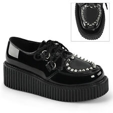 Demonia Creepers 108 Unisex Goth Punk Rockabilly Creeper Black Patent Shoes
