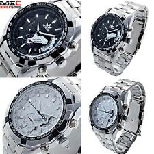 Mens Skeleton Date Automatic Watch Sport Mechanical Wrist Stainless Steel Sliver