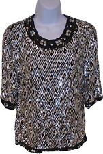 USED Ladies Frank Usher Black Sequin Heavy Top Size Small - Medium (M.SH)