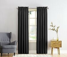 Sun Zero Barrow Energy Efficient Rod Pocket Curtain Panel, 54 x 84 Inch, Black