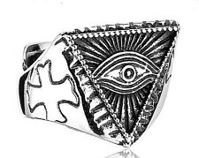 Mens Ring Biker Ring All Seeing Eye Ring Masonic Ring Eye of Providence Ring