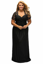 NEW BLACK LACE YOKERUCHED  EVENING MAXI DRESS SIZE AVAILABLE  16,18,20,22