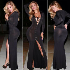 Women Sexy V-neck Bandage Split Prom Dress Bodycon Cockatail Evening Party Dress