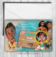MOANNA invitations Personalized - Baby Moanna photo invites birthday party