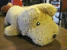 Antique Straw Stuffed Dog button eyes and Plaid Bear moulded nose- vintage