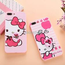 For iPhone 7 7 Plus 6 6S Cute Pink Hello Kitty Finger Rings Anti-Drop Case Cover