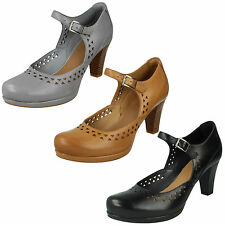 LADIES CLARKS LEATHER HIGH HEEL MARY JANE BUCKLE SMART COURT SHOES CHORUS CHIME