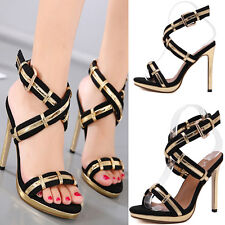 New Women Sexy Pointed Toe High Heel Sandals Casual Party Strappy Black Shoes