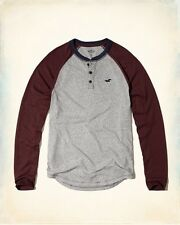 BNWT Hollister by Mens Grey Jersey Henley Long Sleeved Top.Gift. Size L