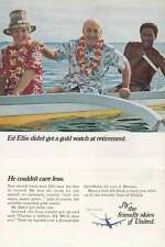 1966 United Airlines: Ed Ellis Didn't Get a Gold Watch Print Ad (15928)