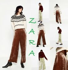 ZARA Velvet Culottes Flowing Crop Trousers New (RT$100) Wide Leg Pants Size: S M