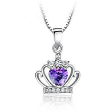 FASHIONS FOREVER® 925 Sterling Silver Royal Crown AAA-Zirconia Necklace-Pendant