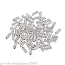Wholesale Lots Silver Tone Flower Tube European Charm Spacers Beads 3x10mm