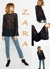 ZARA Blue Floral Lace Top Long Sleeve Gathered Cuff Back Button New Top XS; S; M