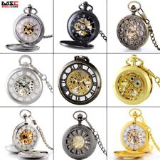 New Antique Mechanical Steampunk Skeleton Mens Windup Pocket Watch Pendant Gift