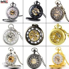 Antique Mechanical Steampunk Skeleton Windup Pocket Watch Pendant Chain Gift New